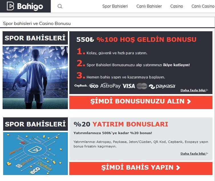 Bahigo güncel sitesindeki bonuslar